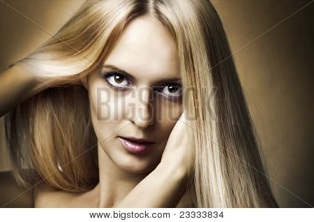 Fashion Portrait Of Woman. Health Hair