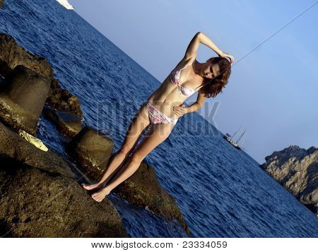 The beautiful girl, has come on a beach