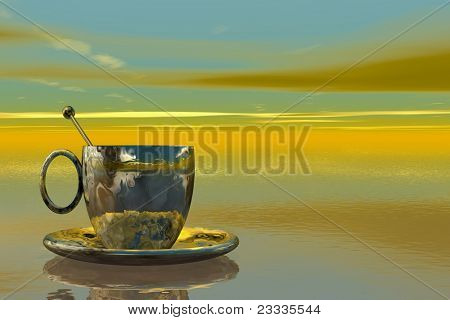 conceptual digital background illustration 'tea adventures' with plenty of room for text