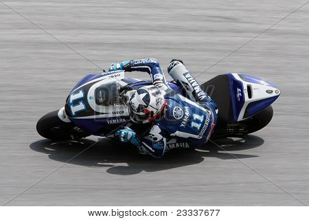 SEPANG, MALAYSIA - FEBRUARY 23: MotoGP rider Ben Spies of Yamaha Factory Racing Team practices at the 2011 MotoGP winter tests at the Sepang International Circuit. February 23, 2011 in Malaysia.