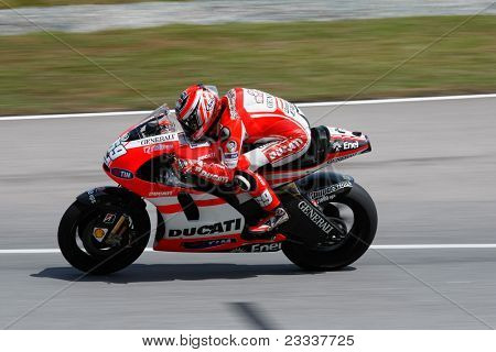 SEPANG, MALAYSIA - FEBRUARY 23: MotoGP rider Nicky Hayden of Ducati Malboro Team practices at the 2011 MotoGP winter tests at the Sepang International Circuit. February 23, 2011 in Malaysia.