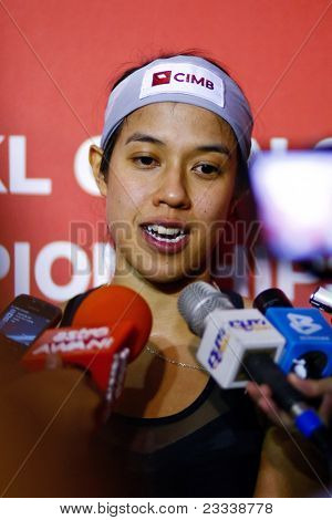 KUALA LUMPUR, MALAYSIA - MARCH 19: World #1 Nicol David, Malaysia speaks at the press conference after his semifinal win at the CIMB KL Open Championship 2011. March 19, 2011 Kuala Lumpur Malaysia.