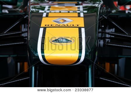 PUTRAJAYA, MALAYSIA - APRIL 2: Image capturing livery details of the Team Lotus F1 car seen on display at the F1 Street Demo promoting the Petronas Malaysian F1 GP. April 2, 2011 Putrajaya, Malaysia.