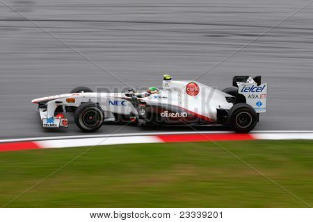 SEPANG, MALAYSIA - APRIL 8: Sergio Perez of the Sauber F1 Team takes to the tracks on practice day of the Petronas Malaysian F1 Grand Prix on April 8, 2011 in Sepang, Malaysia.