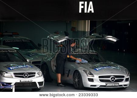 SEPANG, MALAYSIA - APRIL 8: FIA's staff keeps the Medical Car and Safety Car ready on standby at the control centre throughout the Petronas Malaysian F1 Grand Prix on April 8, 2011 in Sepang, Malaysia.
