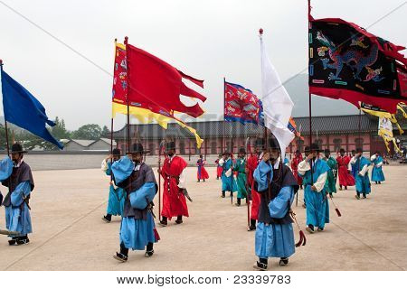 SEOUL - JUNE 09: Changing of the guards ceremony takes place at the Gyeongbokgong Palace on June 09, 2011 in Seoul, South Korea. This event dates back to the Joseon Dynasty over 700 hundred years ago.