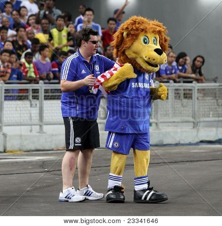 BUKIT JALIL, MALAYSIA - JULY 19: Chelsea's mascot wearing the Malaysian flag on it's back during the team's practice session in the National Stadium on July 19, 2011 in Bukit Jalil, Malaysia.