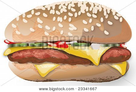 Appetizing hamburger on a white background
