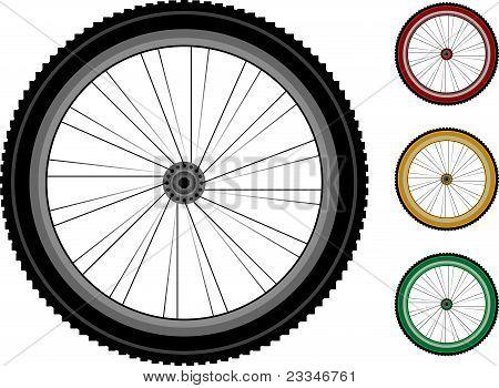 Fahrrad-Räder. Serie detaillierte Räder der Fahrzeuge, isolated on white