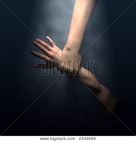 Hombre del ahorro de la mano de Dios