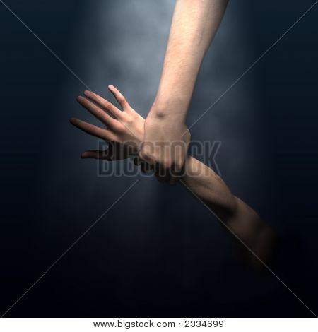 Gottes Hand sparen Mann