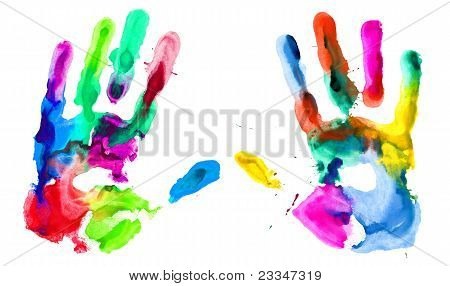 Close Up Of Colored Hands Print
