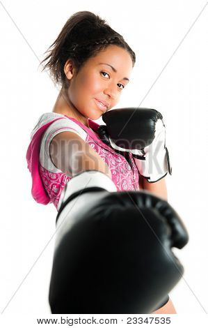 Young beautiful mixed race boxing teenager, punching and smiling - isolated on a white