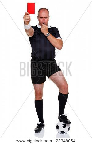 Full length photo of a football or soccer referee showing you the red card for a sending off, isolated on a white background.