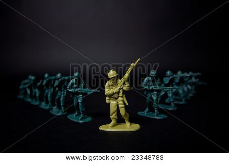 High Contrast Toy Soldiers Close Up