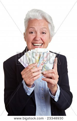 Senior Woman Winning Euro Money