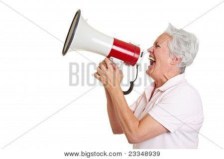 Senior Woman Using A Megaphone