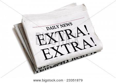 Schlagzeile Extra Extra isoliert auf weißem Hintergrund