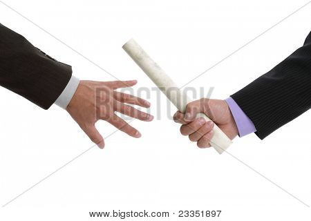 Partnership or teamwork concept two men handing over a paaperwork baton
