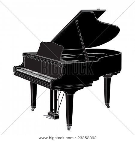 Vector piano on white background (illustration)