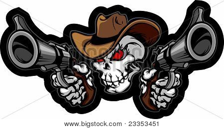 Skull Cowboy Aiming Guns