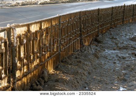Winter Highway Guardrail