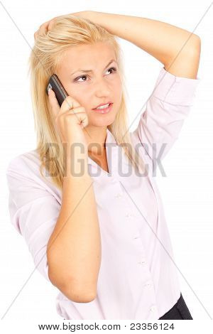 Stressed Businesswoman On Phone