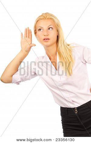 Young Businesswoman Listening Rumors