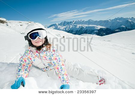 Winter, ski, snow and fun - little skier portrait - space for text