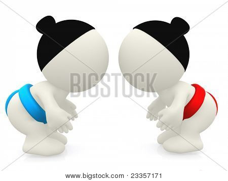 3D heavyweight sumo fighters - isolated over a white background
