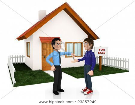 3D man selling a house ? isolated over a white background