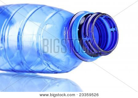 crumpled empty plastic bottle isolated on white