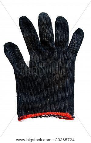 Black Fabric Gloves Isolated On White Background.