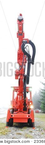 Drilling Machine With Driller Lifted