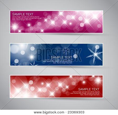 Conjunto de vetores de Natal / ano novo horizontal banners 2012