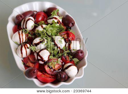 italian diet: tomatoes with mozzarella