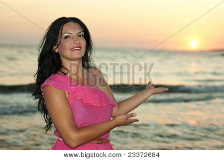 Beautiful Woman Showing Sunset