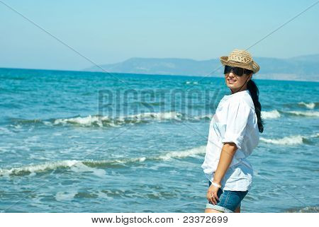 Smiling Woman At Sea