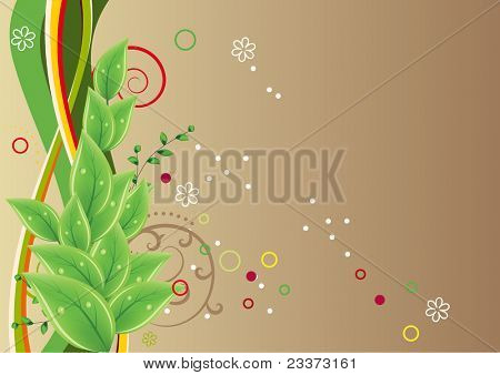 Background with fresh green leaves. Raster version.