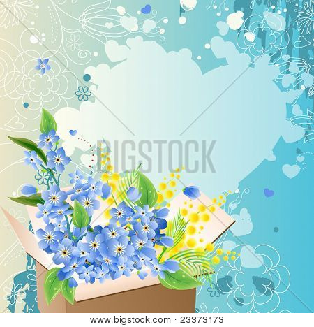 Greeting card with box full of blue flowers. Raster version.