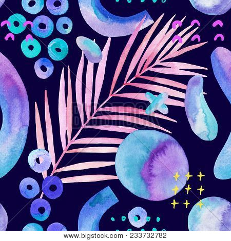 Colorful Tropical Leaf Background With Brush Stroke Drawings