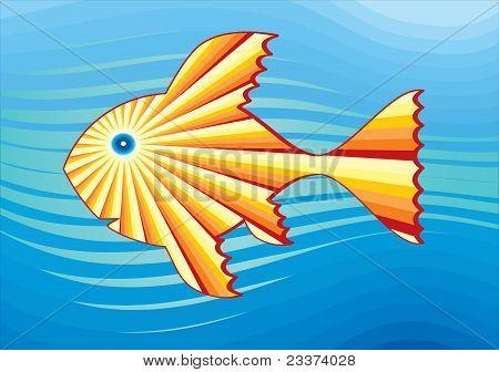 Solar fish in the sea. Simbolical drawing.