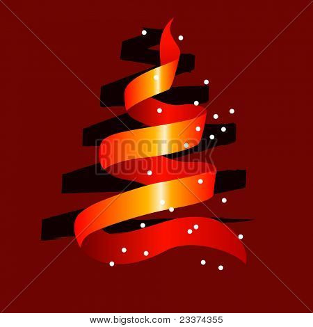 Stylized christmas tree made of red ribbon with snow