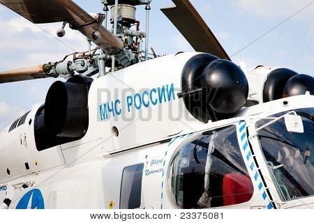 MOSCOW, RUSSIA, AUGUST 16: Russian Emergency Helicopter Rescue Service at the International Aviation and Space salon MAKS 2011, August 16, 2011 at Zhukovsky, Russia