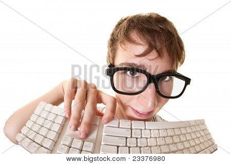 Nerd With Keyboard