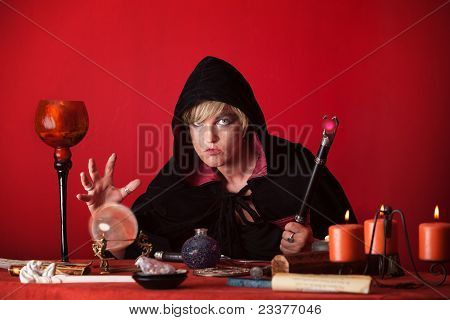 Witch Gazes Crystal Ball