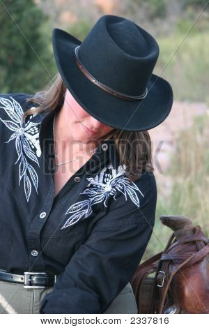 Cowgirl In Black Hat
