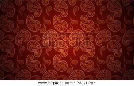 Raster version of seamless paisley gold and red wallpaper
