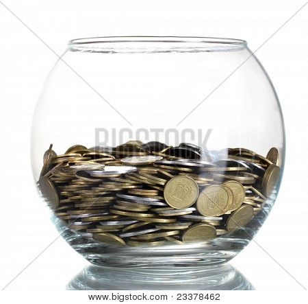 Clear glass jar for tips with money isolated on white. Ukrainian coins
