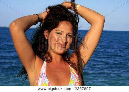 Portrait Of Girl At The Beach